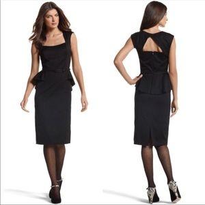 WHBM Black Sleeveless Peplum Sheath Belt Dress